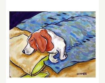 20% off Beagle Sleeping Dog Art Print