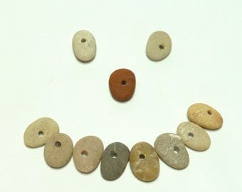 Genuine Drilled Beach Stones FANFARE Focal Jewelry Beads River Stone Rocks Pebbles diy Jewelry Natural Wheels Donut Rondelles Small