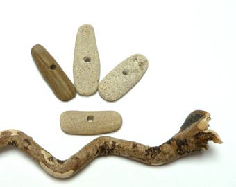 Long Beach Stones RATTLESNAKE WAY Rock Toggles Pebbles Jewelry Beads Organic Drilled Taper Toggles Earthy Artisan Connectors