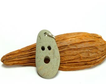Genuine Drilled Beach Stone BOO Focal Jewelry Bead Pebble Pendant Pale Sage Stone Carved Rock Halloween Necklace Dangle