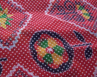 red dotted swiss vintage fabric