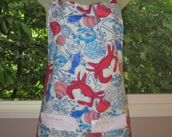 Womens Aprons - Aprons for Adults - Sea Life Sketch