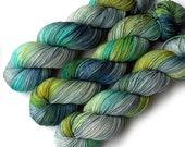 Handdyed Sock Yarn Tight Twist Merino Cashmere Nylon Fingering - Down by the River, 400 yards
