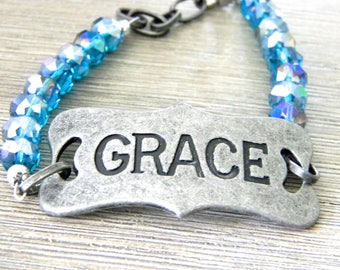 Grace Bracelet Blue Glass and Metal Bracelet with Adjustable Chain