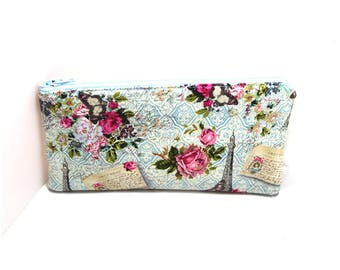 Cosmetic Case, Cord Case, Bridesmaid Gifts, All-Purpose Zipper Case, Paris and Roses 9045