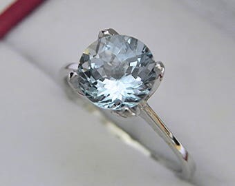 AAAA Green Aquamarine round   8mm  2.00 Carats   Solitaire Tulip Engagement ring 14K White gold 1367 MMM
