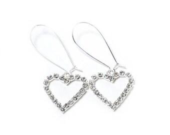 HALF PRICE SALE Clear crystal heart silver dangle earrings