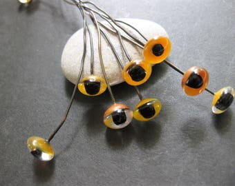 Weird but True, Glass Eyes on Wire, 8 Pair, 10mm, Brown with Black