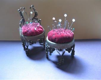 Vintage Handmade Tin Can Pincushions, Chair and Footstool, with Original Pins, Folk Art, Tramp Art