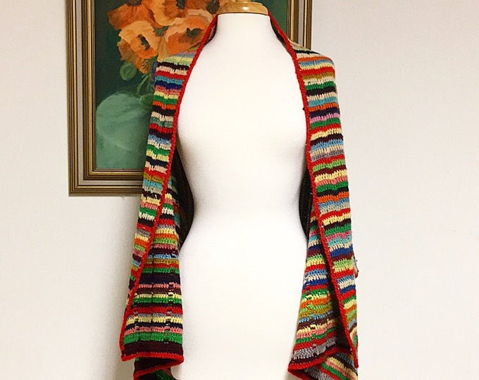 Vintage Knit Granny Shawl in Vibrant Colors, Open Front, One Size Fits Most