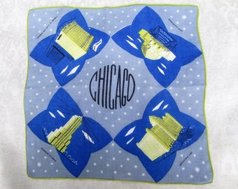 Vintage Handkerchief Chicago Illinois State Souvenir Hankie Mid Century Buildings Hanky Printed Linens Hankie Blue Chartreuse Gray Grey MINT