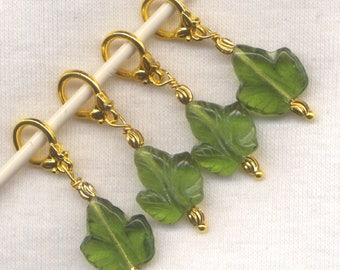 Leaves Knitting Stitch Markers Green Pressed Glass Leaf Set of 4/SM70C