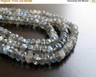 Deep Discount Sale Labradorite Gemstone Rondelle Grey Blue Flash Faceted Beads 4mm 1/2 Strand 55 beads