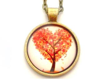 """Red Heart Tree Photo Glass Necklace 30"""" Antiqued Bronze Chain"""