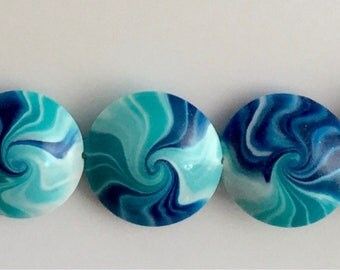 Polymer  Clay Lentil Bead Set  #L-18
