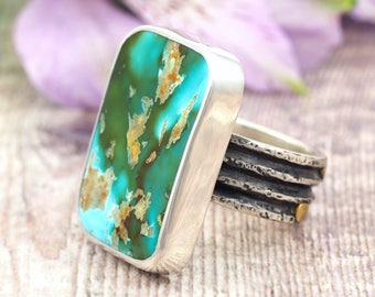 Pilot Mountain Turquoise Ring - Chunky Sterling Silver Turquoise Ring with 22k Gold - Blue Green Natural Turquoise Ring - US size 10