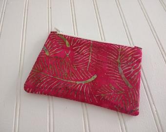 Coin Purse - Pink Batik Fronds