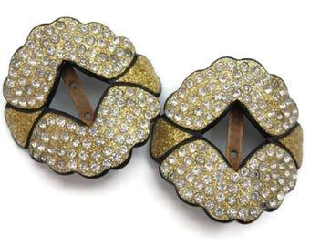Art Deco Rhinestone Buckle Pair - Gold Glitter French Celluloid Bridal Shoe or Sash Buckles Clear Rhinestones
