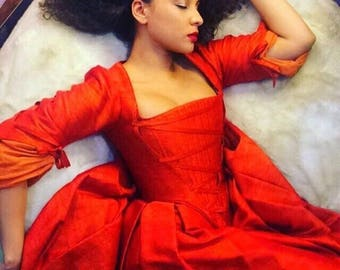 Custom Made Maria Reynolds from Hamilton Red Boned Corset Dress Gown