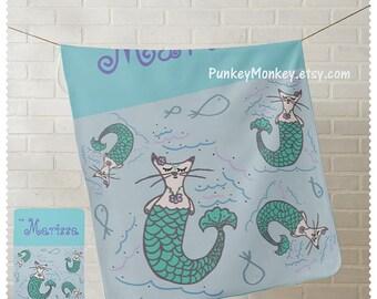 30x40 Personalized Mermaid blanket or towel soft plush micro fleece mercats mermaid kitty cat toddler kids 30x40 punkeymonkey ocean beach