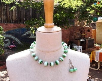 Summer Sale Lamp Work Green Necklace Recycled Spectrum Glass Hand Knotted