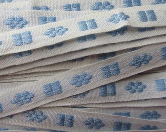 Italy 2 Yards Vintage Cotton Edging Embroidered Blue And White Fabric Sewing Trim   RV 99