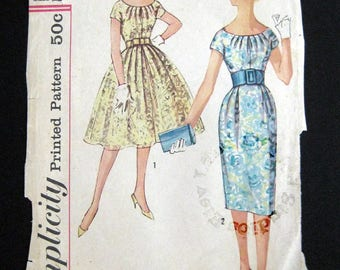 1959 Simplicity pattern 2959 one pieces dress with two skirts size 12 bust 32