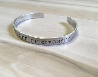 Reminder Bracelets, Random Acts of Kindness, Goal Setting, Bible Quote Jewelry, Thin Inspirational Cuff Bracelet, Silver Aluminum Bracelet,