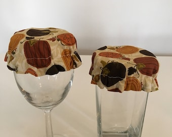 Reusable Wine Cup Glass Cover Fall Pumpkins Fabric