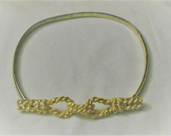 Rope Knot Buckle Gold Tone Stretch Metal Belt