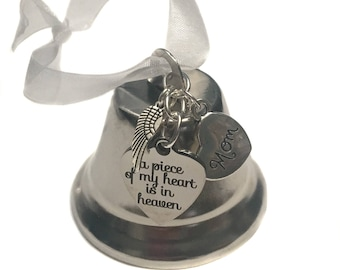 """RESERVED Custom 2"""" Bell, """"A Piece Of My Heart Is In Heaven"""" Heart Charm, Son With Letter Charm"""