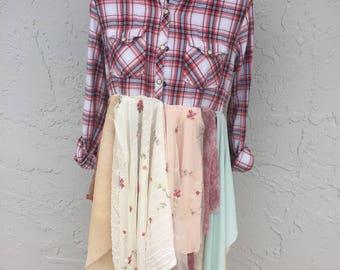 Bohemian duster,Lagenlook dress/jacket eco friendly couture size medium plaid shirt
