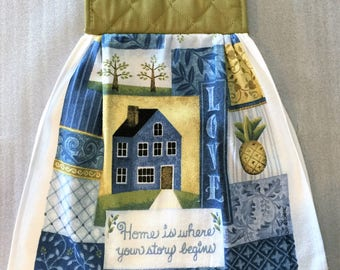 AMERICANA LOVE Double Layer Hanging DECORATIVE Towel, oven door towel, kitchen, housewarming, birthday, holiday, gifts
