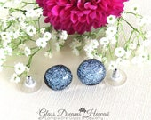 Glass Stud Earrings, Shim...