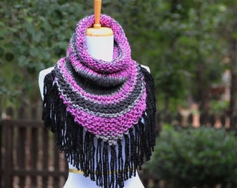 Chunky Scarf, Knit Triangle Scarf Cowl with Fringe in Black, Pink and Gray, Women's Scarf Cowl, Bandana Scarf, Fall Scarf, Winter Scarf