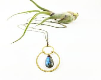 Labradorite gemstone on double raw brass rings on long chain