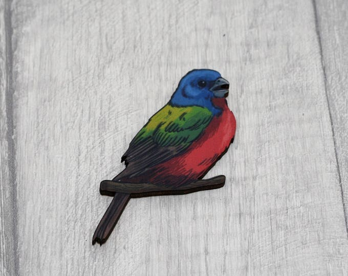 Red and Blue Bird Brooch, Wooden Bird Brooch, Bird Illustration, Animal Brooch, Wood Jewelry