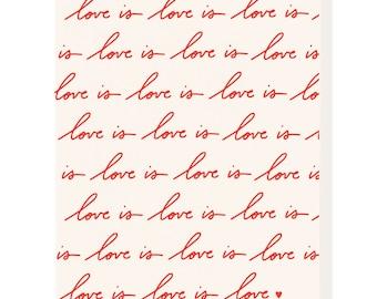 Letterpress 'Love Is Love' Card