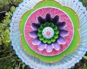 Blue Swirl Hand Painted Glass Garden Plate  Flower Yard Art Sculpture