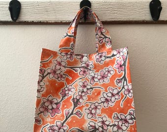 Beth's Orange and Pink Apple Blossom Oilcloth Lunch Box Tote Bag