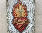 Sacred Heart - Original Painted Paper Collage on Wood