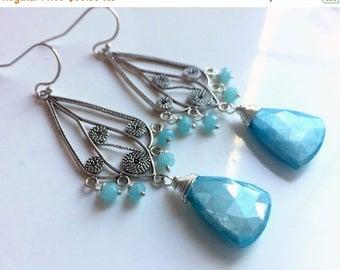 QUICKIE SALE 15% OFF, Blue Moonstone Earrings, Ocean Moon Shimmer, Blue gemstone, sterling silver
