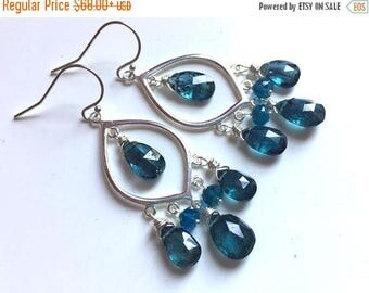 XMAS IN JULY 20% off, Kyanite Chandelier Dangle Earrings, Sterling Marquis, Pear Cut Kyanite and apatite, Style: Captivating, Christmas gift