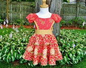 Toddler girl, Ruffled dress, Size 2T, Coral floral dress, Yellow, Ready to ship, Party dress, Autumn, Thanksgiving, Birthday, OOAK, Handmade