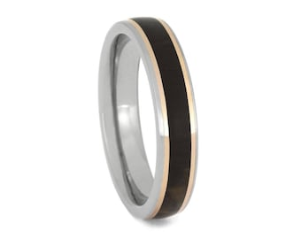 Petrified Wooden Wedding Band With 14k Rose Gold Pinstripes, Titanium Ring For Women, Stone Jewelry