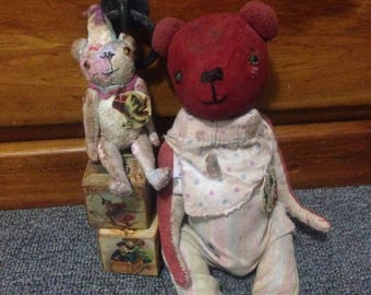 Red Raggy Bear ooak handsewn handmade artist vintage primitive shabby old style small faux mohair