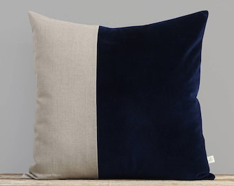 Velvet Colorblock Pillow Cover in Deep Navy Blue and Natural Linen by JillianReneDecor, Modern Home Decor, Two Tone Color Block Pillow