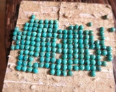 12 Tiny 3mm Turquoise Cabochons-Blue  LAST SHEET