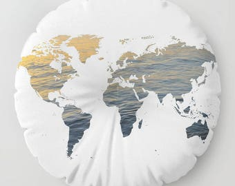 coussin rond monde