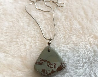 """Jasper Pendant with 18"""" Sterling Silver Chain"""
